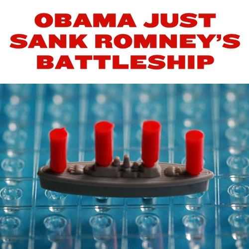 Obama Romney battleship