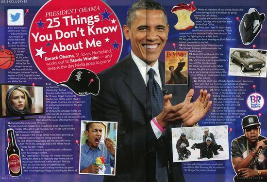 Barack Obama 25 Things Us Weekly