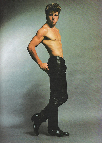 Maxwell-Caulfield-shirtless-leather-pants