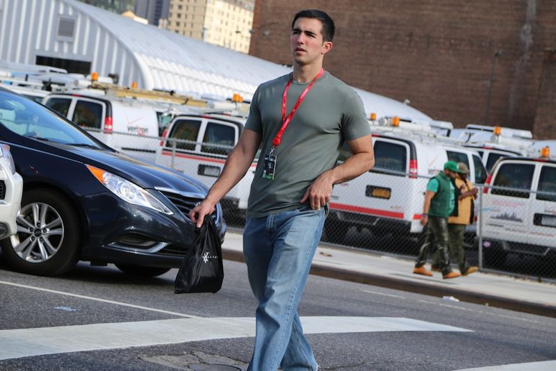Hot man in street surreptitious