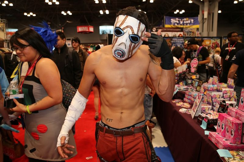 Scorching hot shirtless comic con guy