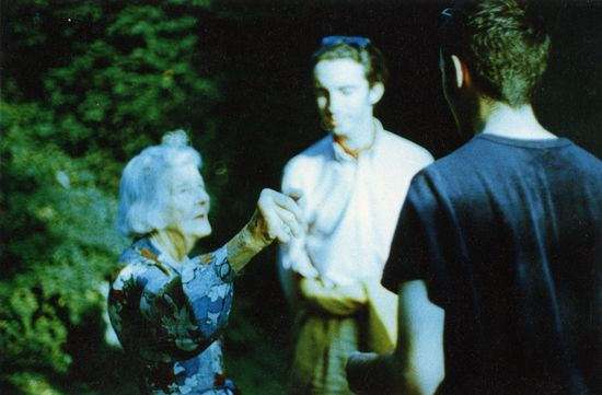 Joan Morgan in the garden of her home_Henley-on-Thames_July 1996