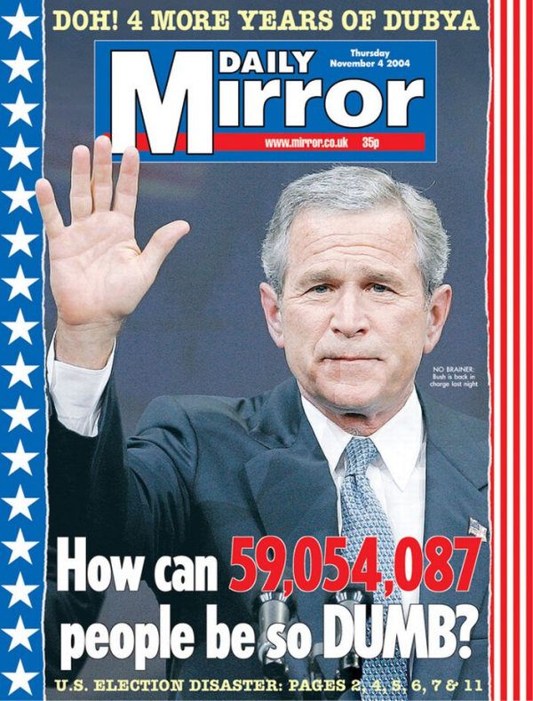 Daily-Mirror-front-page--Bush-reelected