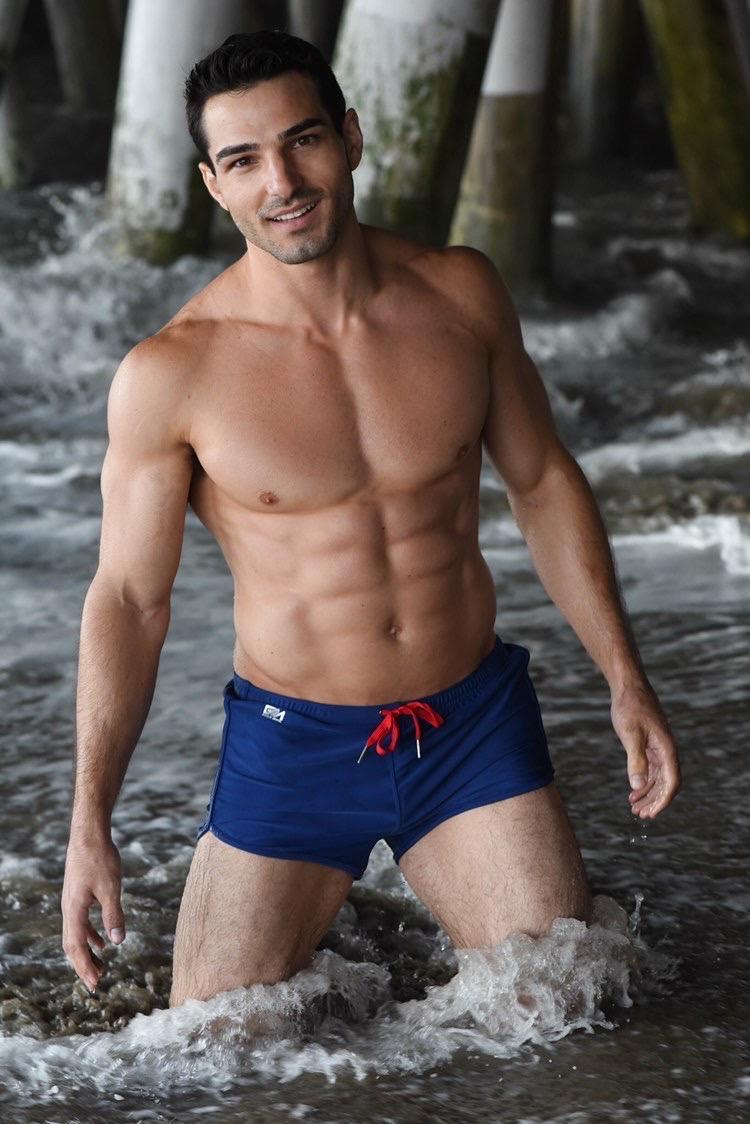 Garcon underwear sexy model underwear designer underwear Blue trunks3-rettenmund
