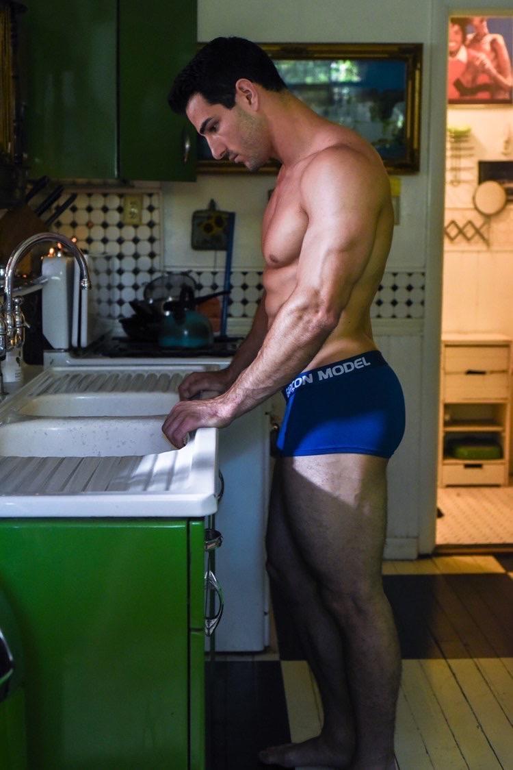Garcon underwear sexy model underwear designer underwear Blue trunks4-rettenmund