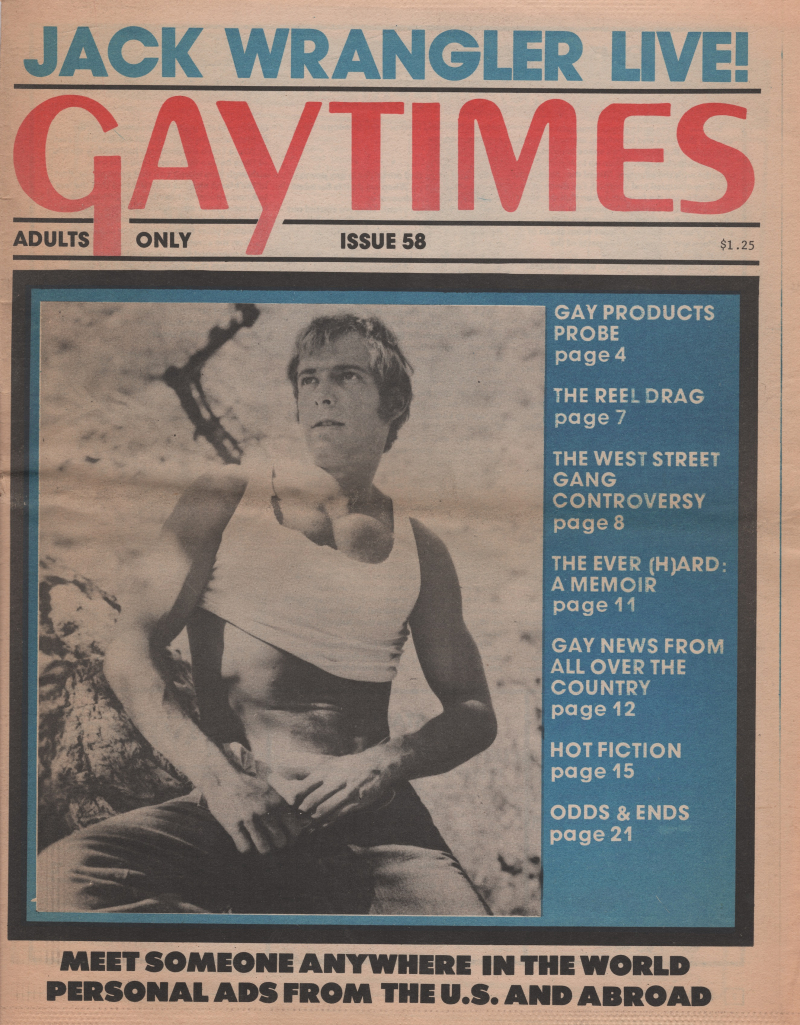 Boyculture-Gay Times issue 58 1977 cover Jack Wrangler copy
