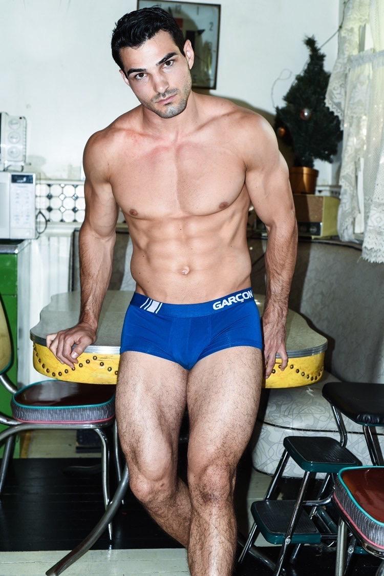 Garcon underwear sexy model underwear designer underwear Blue trunks 9-rettenmund